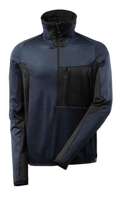 MASCOT® ADVANCED - syvä tummansininen/musta - Fleecepaita lyhyellä vetoketjulla, moderni istuvuus