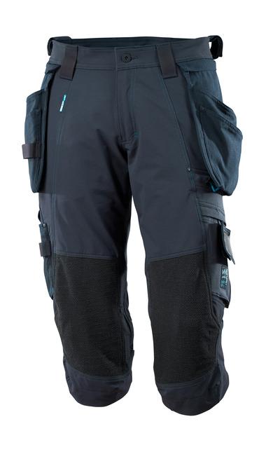 MASCOT® ADVANCED - syvä tummansininen - ¾-housut Dyneema®-polvitaskuilla ja irrotettavilla riipputaskuilla, neljään suuntaan joustava, kevyt