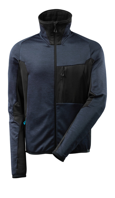 MASCOT® ADVANCED - syvä tummansininen/musta - Fleecepaita vetoketjulla, moderni istuvuus