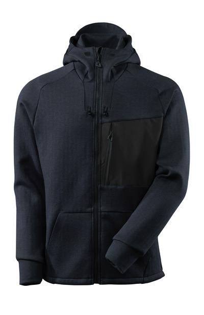 MASCOT® ADVANCED - syvä tummansininen/musta - Huppari vetoketjulla, moderni istuvuus