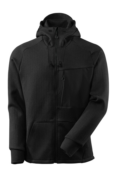 MASCOT® ADVANCED - meleerattu musta/musta - Huppari vetoketjulla, moderni istuvuus