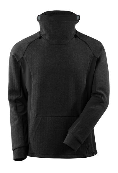 MASCOT® ADVANCED - meleerattu musta/musta - Collegepaita korkealla, säädettävällä kauluksella, moderni istuvuus