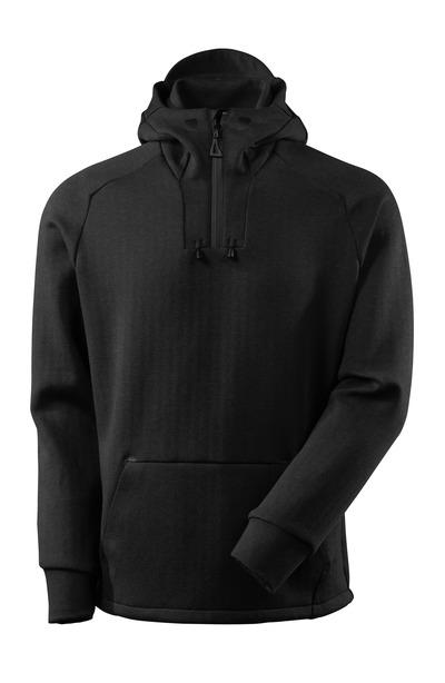 MASCOT® ADVANCED - meleerattu musta/musta - Huppari lyhyellä vetoketjulla, moderni istuvuus