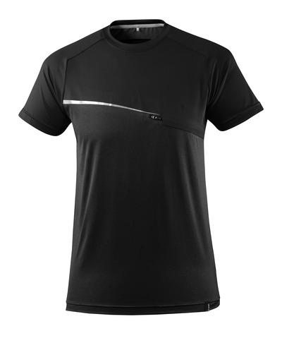 MASCOT® ADVANCED - musta - T-paita rintataskulla, kosteutta siirtävä, moderni istuvuus