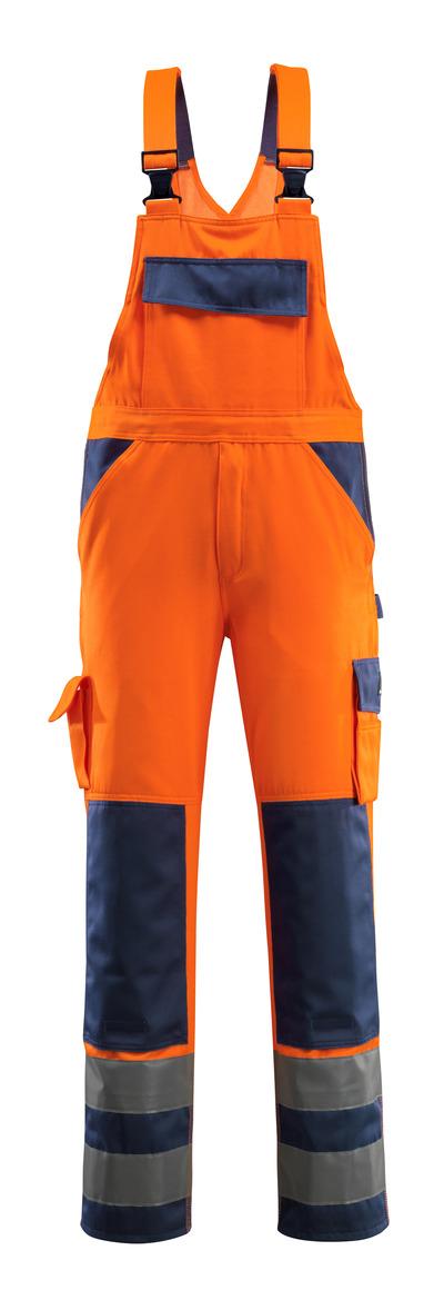 MASCOT® Barras - hi-vis oranssi/tummansininen - Avosuoja polvitaskuilla, Luokka 2