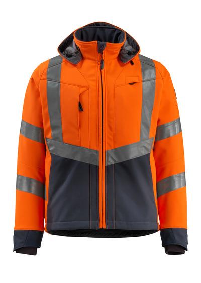 MASCOT® Blackpool - hi-vis oranssi/tumma laivastonsininen - Softshell-takki, fleece-sisäpinta, vettähylkivä, Luokka 3