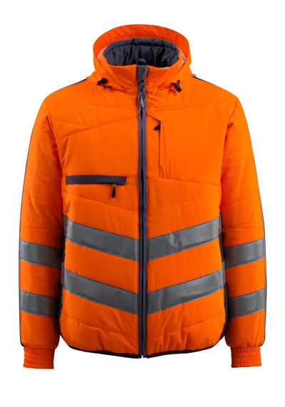 MASCOT® Dartford - hi-vis oranssi/tumma laivastonsininen - Takki, vuorillinen, huppu, vettähylkivä, Luokka 2