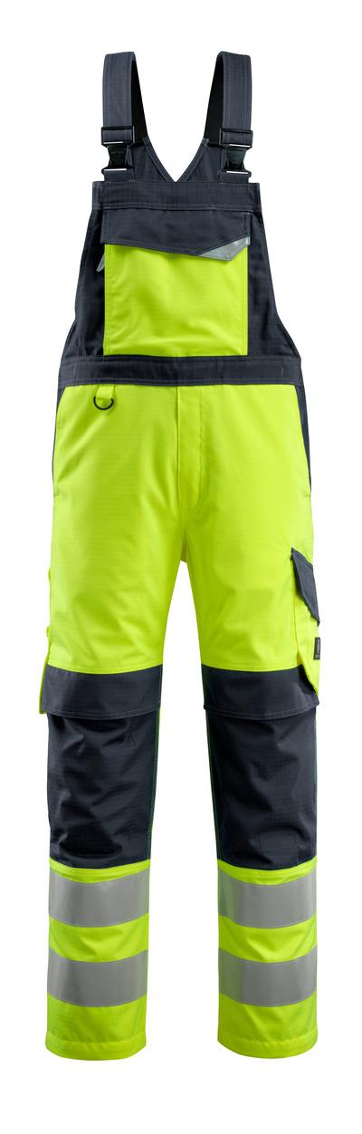 MASCOT® Davos - hi-vis keltainen/tumma laivastonsininen - Avosuoja polvitaskuilla, monisuojaava, Luokka 2