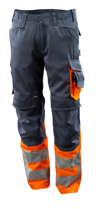MASCOT® Leeds - tumma laivastonsininen/hi-vis oranssi - Housut CORDURA®-polvitaskuilla, Luokka 1