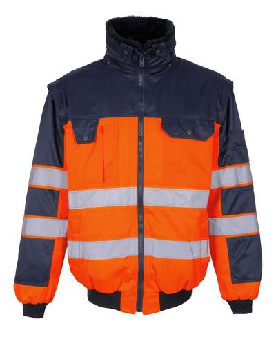 MASCOT® Livigno - hi-vis oranssi/tummansininen - Pilottitakki irrotettavalla turkisvuorilla, vettähylkivä, Luokka 2