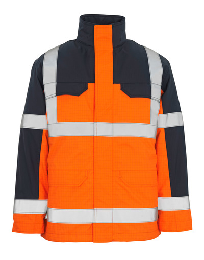 MASCOT® Lungern - hi-vis oranssi/tummansininen* - Parkatakki irrotettavalla tikkikangasvuorilla, vedenpitävä, monisuojaava, Luokka 3/2