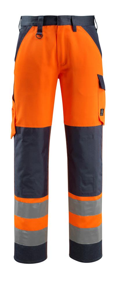 MASCOT® Maitland - hi-vis oranssi/tumma laivastonsininen - Housut polvitaskuilla, Luokka 2