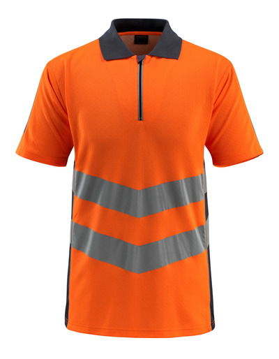 MASCOT® Murton - hi-vis oranssi/tumma laivastonsininen - Pikeepaita vetoketjulla, muotoonommeltu, Luokka 2