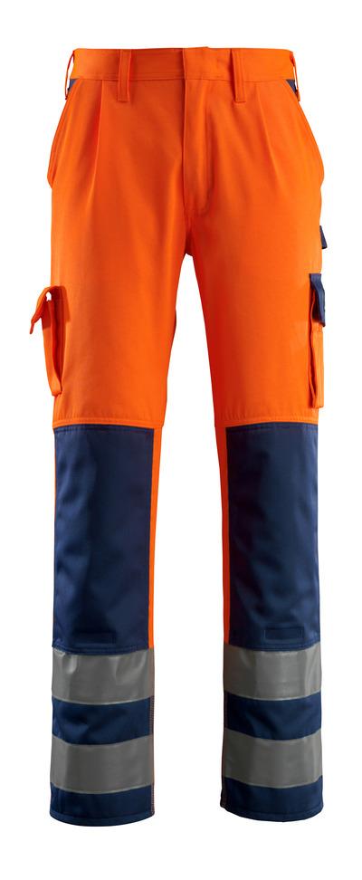 MASCOT® Olinda - hi-vis oranssi/tummansininen - Housut polvitaskuilla, Luokka 2