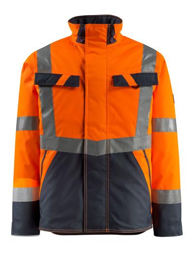 MASCOT® Penrith - hi-vis oranssi/tumma laivastonsininen - Talvitakki tikkikangasvuorilla, vettähylkivä, Luokka 3