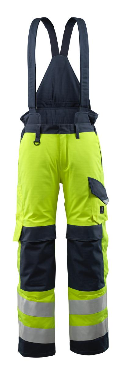 MASCOT® Renens - hi-vis keltainen/tumma laivastonsininen - Talvihousut tikkikangasvuorilla ja irrotettavilla olkaimilla, vedenpitävä, monisuojaava