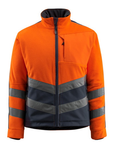 MASCOT® Sheffield - hi-vis oranssi/tumma laivastonsininen - Fleecetakki tuulenpitävällä vanuvuorilla, vettähylkivä, Luokka 2
