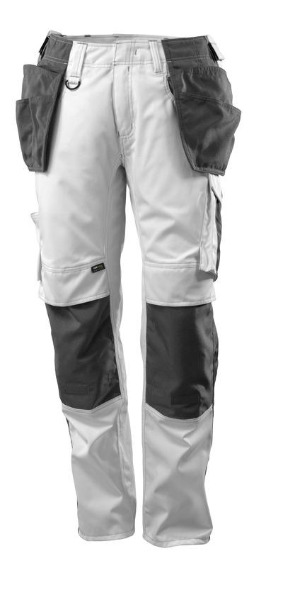 MASCOT® UNIQUE - valkoinen/tumma antrasiitti - Housut CORDURA®-polvi- ja -riipputaskuilla, kevyt