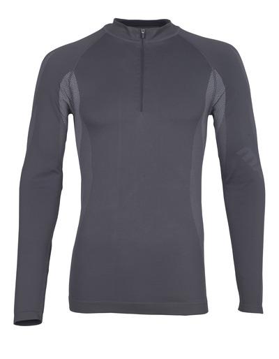 MASCOT® Valongo - tumma antrasiitti - Toiminnallinen aluspaita lyhyellä vetoketjulla, kevyt, kosteutta siirtävä