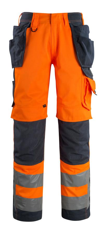 MASCOT® Wigan - hi-vis oranssi/tumma laivastonsininen - Housut CORDURA®-polvi- ja -riipputaskuilla, hyvä kulutuksenkestävyys, Luokka 2